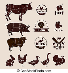 meat cuts, butcher retro emblems and labels set, design...