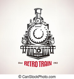 retro train, vintage, symbol, emblem, label template