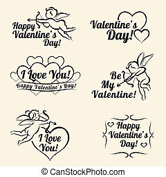Valentines day vintage card templates of banners, set of...