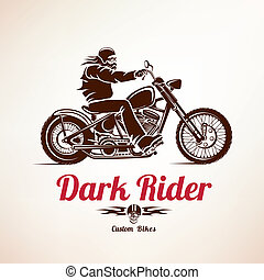biker, motorcycle grunge vector silhouette, retro emblem and...