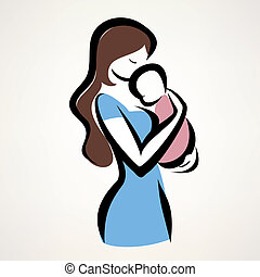 isolated vector symbol of mom and child