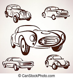 retro cars vector collection deign elements fro labels and...