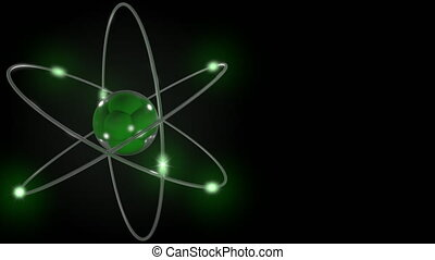 Green stylized atom and electron orbits. Scientific motion...