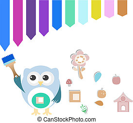 Decorative owl on a white background with paint brush