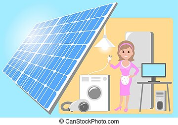 happy young woman standing among the household appliances. Housewife in house powered by solar panels electricity. Vector flat design