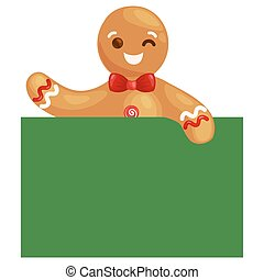 christmas cookies gingerbread man decorated with icing sitting on a plate in a Christmas hat and scarf, xmas sweet food vector illustration