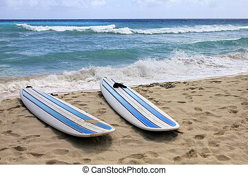 Surfboards at beach - Surfboards at Dover beach on island...