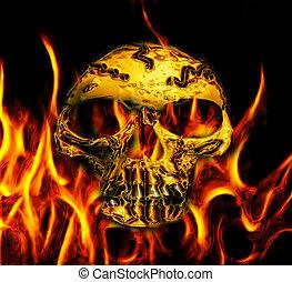 abstract golden skull - golden skull bone on the black...