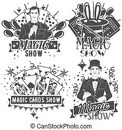 Vector set of magic show labels in vintage style isolated on...