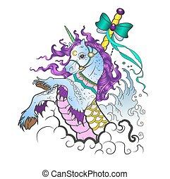 Unicorn vector illustration in cartoon style isolated on...
