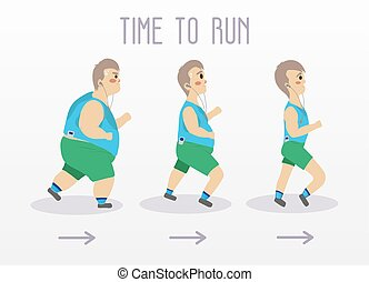 Fat man running to slim shape. Sport and fitness vector...