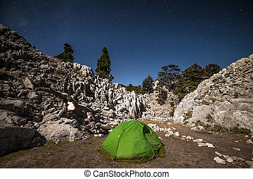 Tent camping under starry night. - Tent camping under starry...