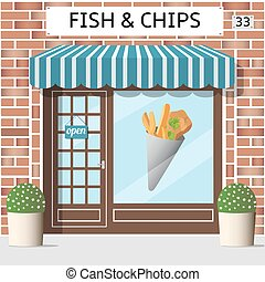 fish and chips cafe - Fish and chips cafe building. Sticker...