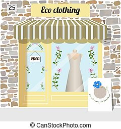 Eco clothing shop. Organic clothes store.