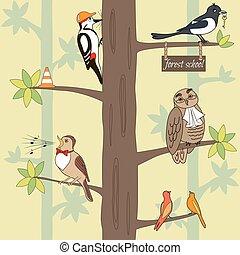 birds on the tree - Seamless pattern cartoon birds on a...