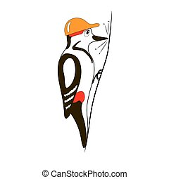 Woodpecker bird - vector cartoon illustration of woodpecker...