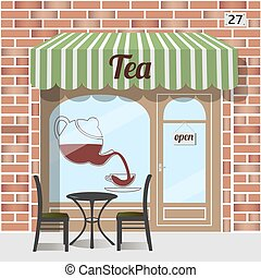 Tea shop facade. - Tea shop building. Facade of brick. Tea...