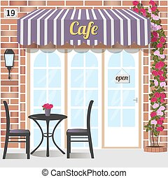 Cafe or coffee shop. - Cafe building facade of red brick....
