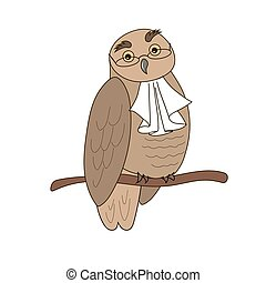 owl bird - Cartoon illustration of an owl in glasses with...
