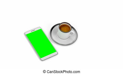 Espresso coffee and smartphone with green display on white...