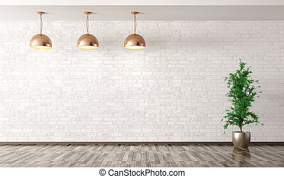 Room with copper metal lamps over white brick wall 3d...