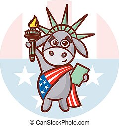 Donkey Symbols of Democrats Political parties in United States. Illustration for election, debate America. The Statue of Liberty. USA flag