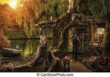 fairy house by the pond - fairy house by a pond hidden in...