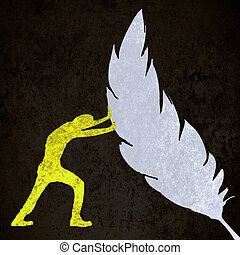 yellow on black  human silhouette pushing a feather
