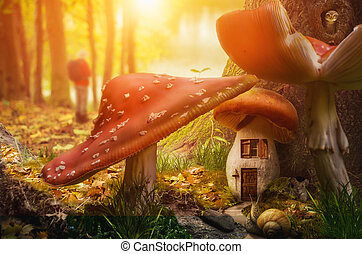 mushroom fairy house at the base of the tree on a sunny day