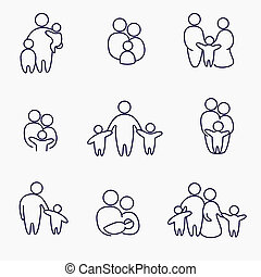 happy family icons, vector symbols collection, linear...