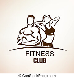 fitness symbol, outlined vector sketch, emblem or label...