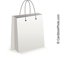 Realistic White Empty Bag for Shoping with Shadow. Vector...