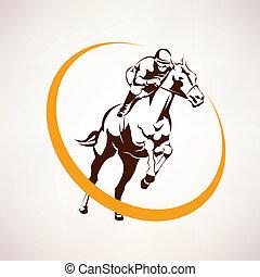 horse race stylized symbol, jockey riding a horse elmblem