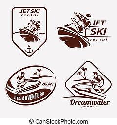 jet ski set of stylized vector symbols, emblem and label or...