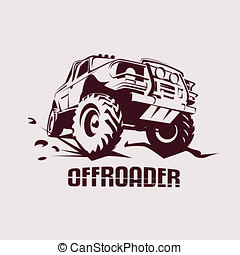 offroad suv car monochrome template for labels, emblems,...