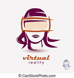 womans head in VR glasses icon, stylized logo template for...