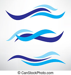 water wave set of stylized vector symbols, design elements...