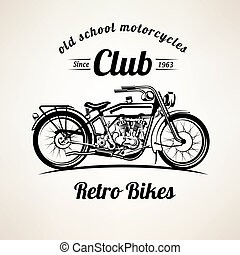 retro motorbike emblems and labels template, vintage...