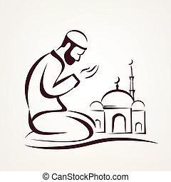 contorneado,  vector, Bosquejo, musulmán, oración