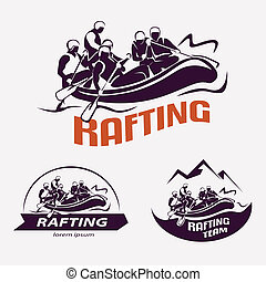 set of rafting templates for labels, emblems, badges or...