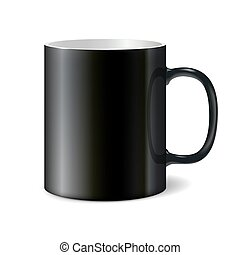 Black big ceramic cup for printing corporate logo. Cup...