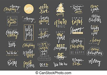 Merry Christmas, Happy New Year 2017 luxury calligraphy...