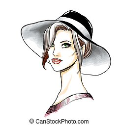 Girl face with makeup and hat