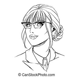 Girl in jacket and glasses - Closeup portrait of beautiful...