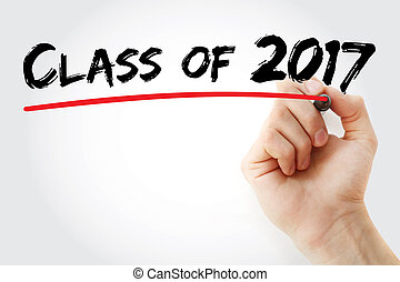 Hand writing CLASS OF 2017 with marker, concept background