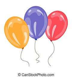 three colorful balloons isolated on white background. vector...