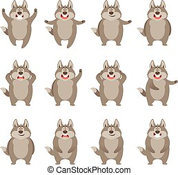 Set of flat wolf icons - Vector image of the Set of flat...