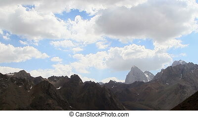 Clouds in the mountains. Time Lapse, Pamir