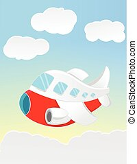 funny cartoon airplane fly flying on the sky isolated