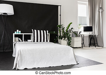 Modern mix of white and black - View of part of the studio...